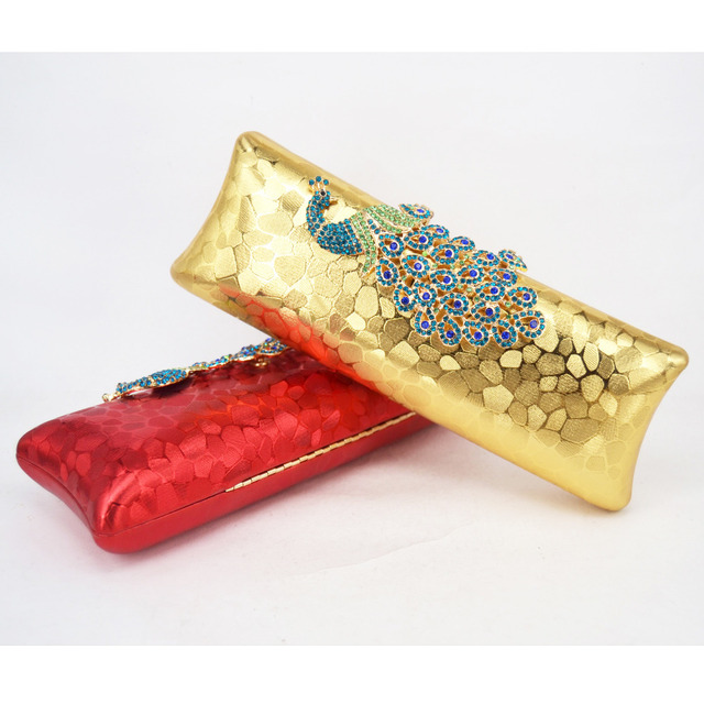 Evening Bag with Embossed Diamond Crystal Peacock Clutch Bag Red Pu Clutches Dinner Bag Wedding Bride Purse banquet bag 8801