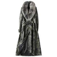 Real Genuine Leather Jacket Korean Sheepskin Coat Autumn Winter Jacket Women Clothes 2018 Fox Fur Collar Long Down Coats ZT1463