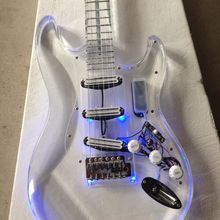 New style high quality  Led light  electric guitar with acrylic body  korean quality pickups new arrival high quality chinese vicers purple burst color electric guitar and body top aaa grade falme high quality guitarra