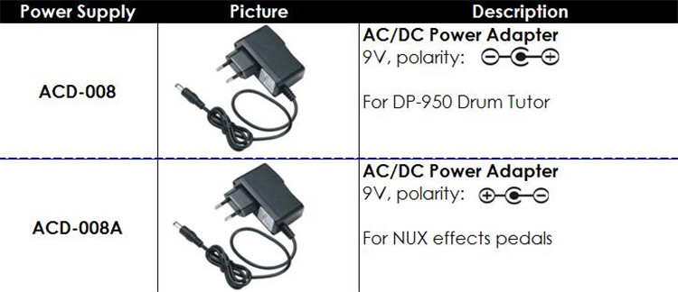 NUX DC 9V Power Supply EU/US Plug 1.0A For Electric Guitar Effect Pedal DP-950 Drum Tutor new adjustable dc 3 24v 2a adapter power supply motor speed controller with eu plug for electric hand drill