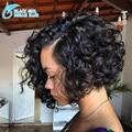 7А Вьющиеся Короткий Парик человеческих волос боб парик Для Чернокожих Женщин Точно как Рис Лучший Полный Шнурок Guless Парики Дешевые Кружева Перед Парик