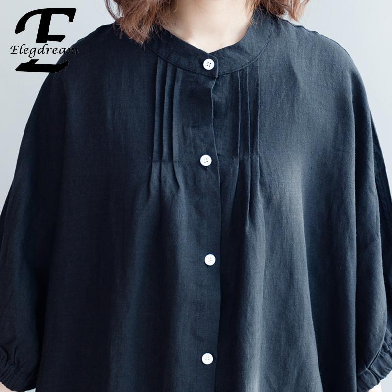 Elegdream Tamaño Primavera Negro Casual Suelta Marca 2019 Camisa Blusa Tops Blusas Grande 5xl Ropa Oversized Mujer Más blanco Túnica rTrxCXqn7