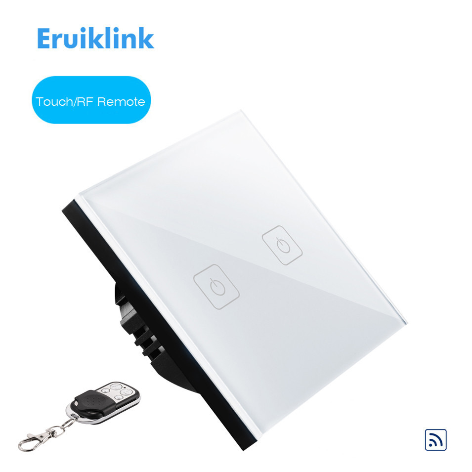 New EU Type Eruiklink Wireless Remote Control Touch Light Switch 2 Gang 1 Way, RF433 Smart Wall Switch, with Remote Controller eruiklink eu uk standard 1 gang 1 way wireless remote control light switch glass panel touch switch wall switch for smart home