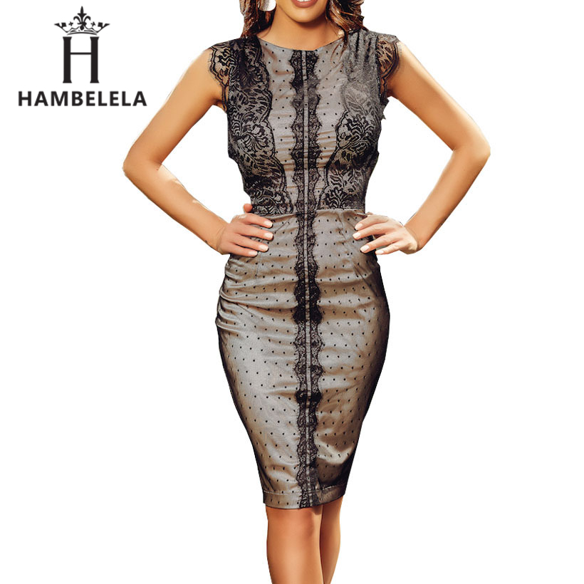 HAMBELELA New Bandage Dress Sleeveless Knee Length Pencil <font><b>Bodycon</b></font> Lady Work Office Lace Dresses <font><b>Vestido</b></font> <font><b>De</b></font> <font><b>Renda</b></font> Autumn Dress image