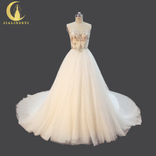 Rhine Real Sample Luxurious Sweetheart Crystal Beads Sweep Long Train Elegent Bridal Wedding Dresses Wedding Gown