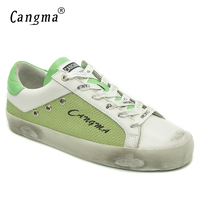 CANGMA Spring Autumn Luxury Brand Woman Shoes Green Hemp Vintage Footwear For Girls Leather Genuine Breathable