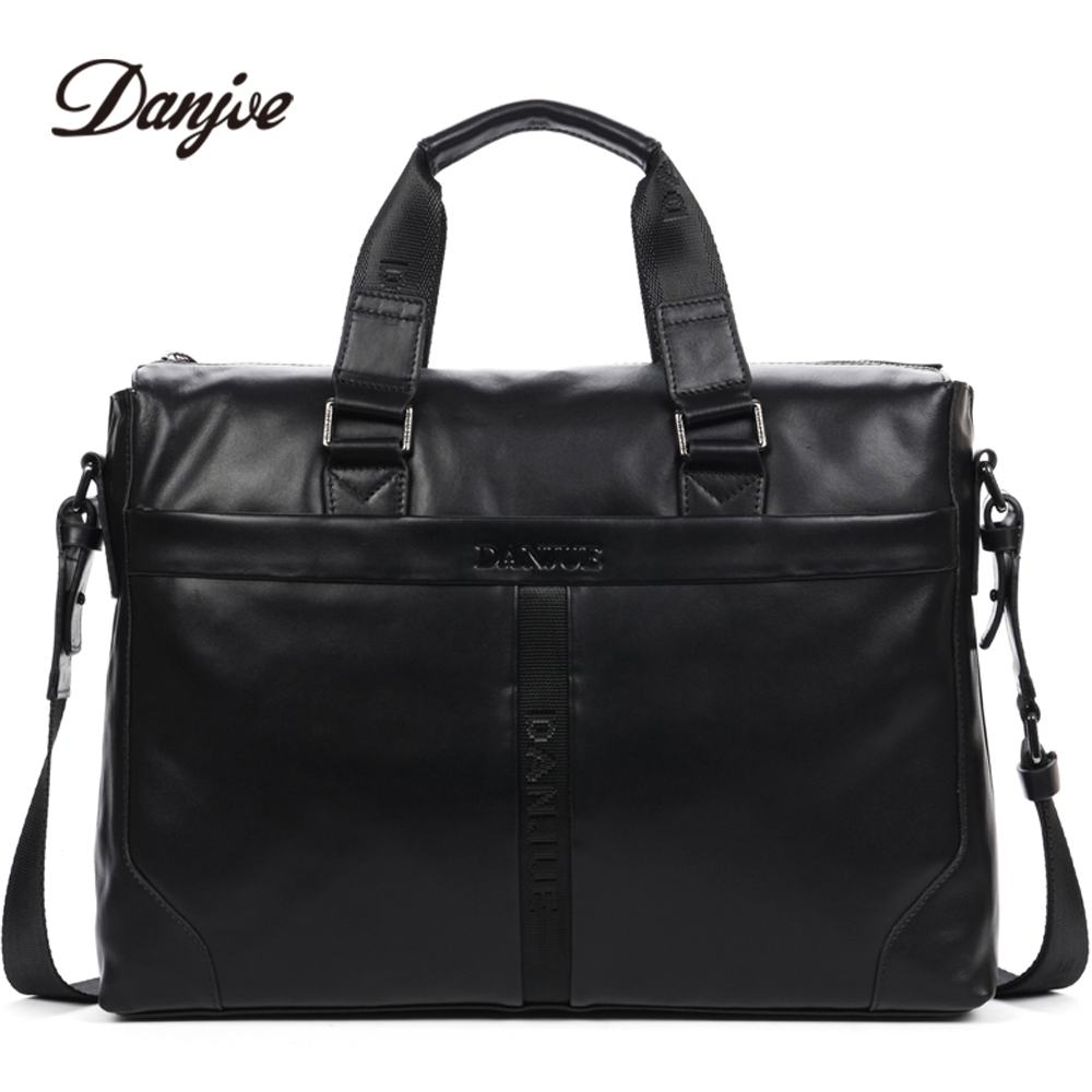 DANJUE Genuine Leather Handbag Men Can Fit 14'' Laptop Bag Classic Black Briefcase Male Messenger Bag Leather Business Bag New 247 classic leather