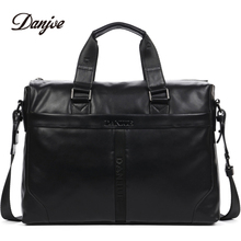 "DANJUE Genuine Leather Handbag Men Can Fit 14"" Laptop Bag Classic Black Briefcase Male Messenger Bag Leather Business Bag New"
