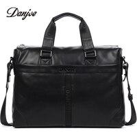 DANJUE Genuine Leather Handbag Men Can Fit 14'' Laptop Bag Classic Black Briefcase Male Messenger Bag Leather Business Bag New
