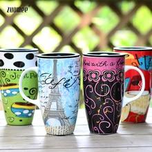 Kreative keramische schalenbecher deckel paar tassen kaffee tasse personalisierte tasse gemalt Continental caneca
