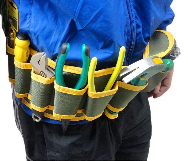 SunRed haute qualité vert avec jaune 8 poches électricien outil taille sacs main outil NO.101 1 freeshipping dans Armoires à outils de Outils