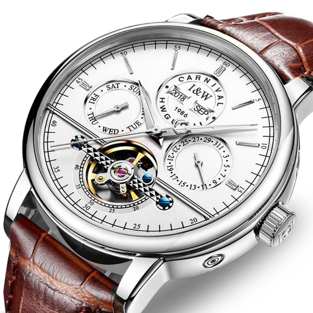 Carnival Fashion business Automatic Watch Men Perpetual Calendar Men's Watches Top Brand Luxury Male Clock Date Week Tourbillon-in Mechanical Watches from Watches    1