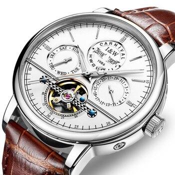 Carnival Fashion business Automatic Watch Men Perpetual Calendar Men's Watches Top Brand Luxury Male Clock Date Week Tourbillon