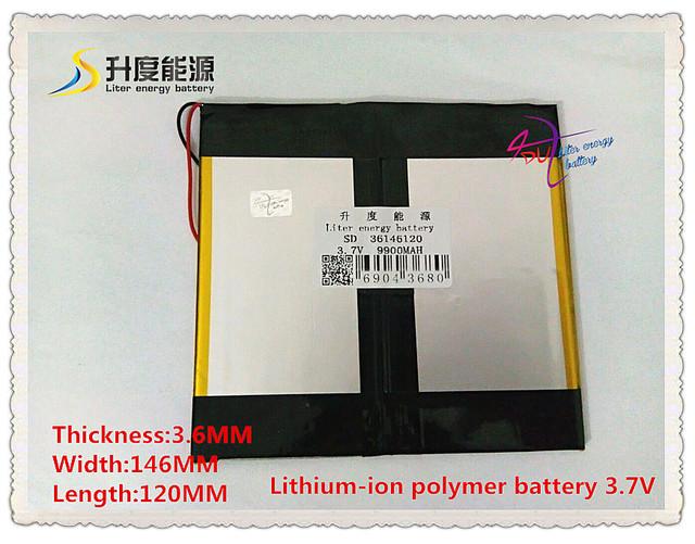 Sd 36146120 de iões de lítio polímero de 3.7 v 9900 mah/bateria li-ion para tablet pc, gps, telefone celular, palestrante, pipo, onda