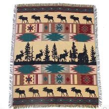 Manta de algodón de ciervo amarillo Vintage, manta suave para SILLA, toalla gruesa, manta de hilo para el hogar