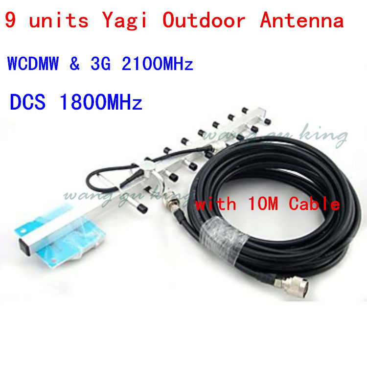 13 DBi 9units Yagi Antenna 1710-2170MHz Outdoor Antenna With 10m Cable For 3G DCS Mobile Phone WCDMA Repeater Signal Booster