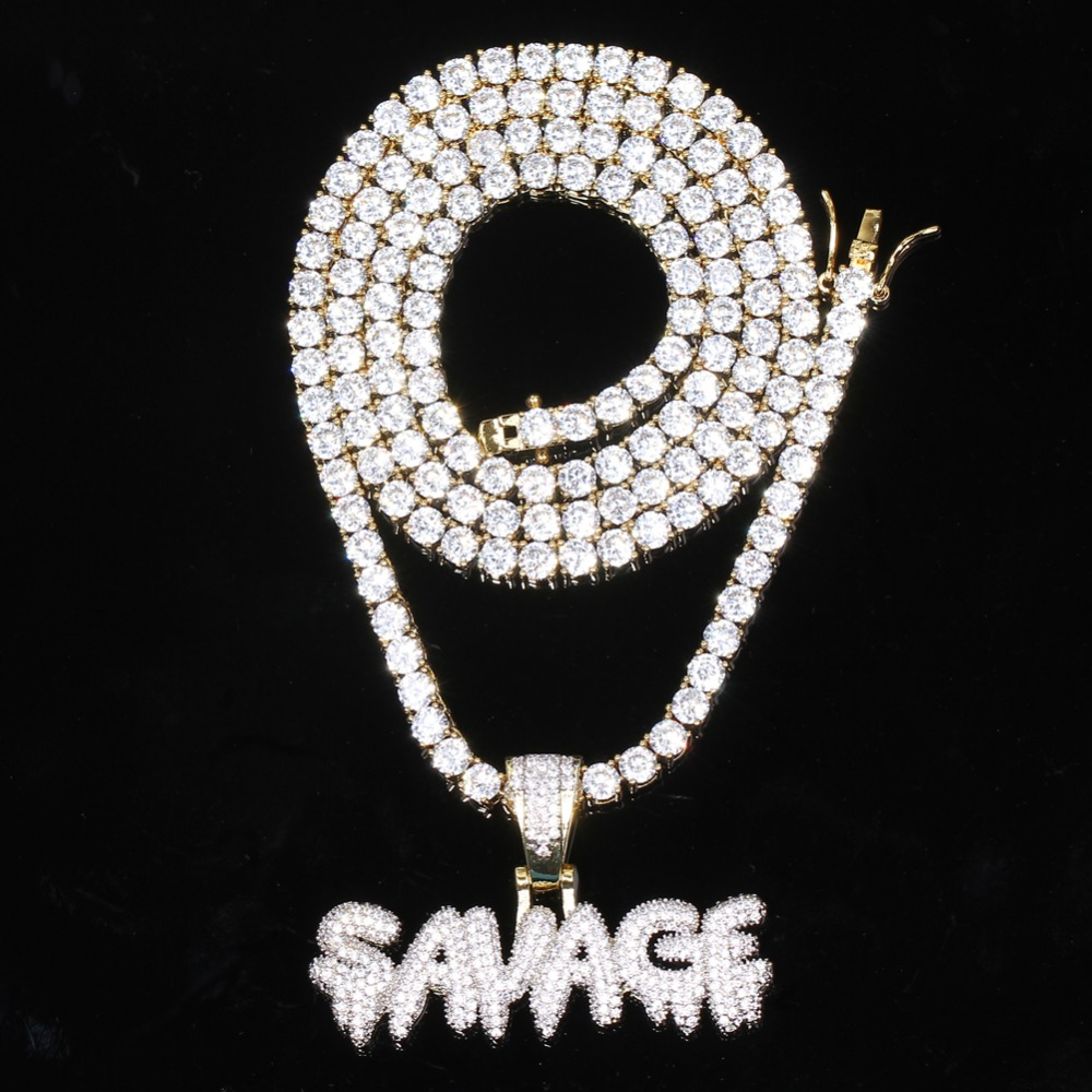 Brass Zircon SAVAGE Pendant With 3MM CZ Tennis Chain Necklace Set Men's Hip Hop Jewelry  CN040A