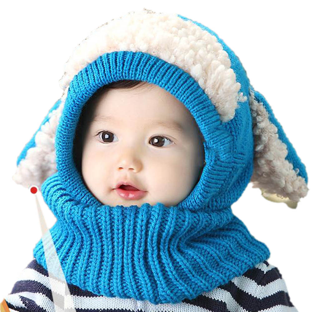 c0442aa6ffa Siamese Puppy Scarf Winter New Baby Hat Wool Hat Winter Hat Hot Sale Beanie  Hat Hooded Scarf Earflap Knit Cap Toddler Cute-in Hats   Caps from Mother    Kids ...
