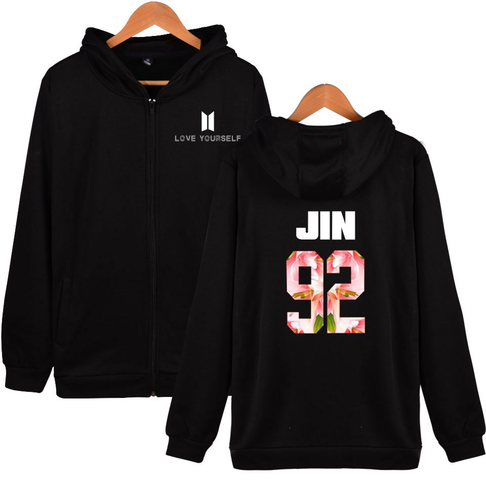 BTS Love Yourself Zipper Harajuku Hoodies Men Winter Bangtan Kpop Sweatshirt Men Hoodies Hip Hop Zipper Clothes