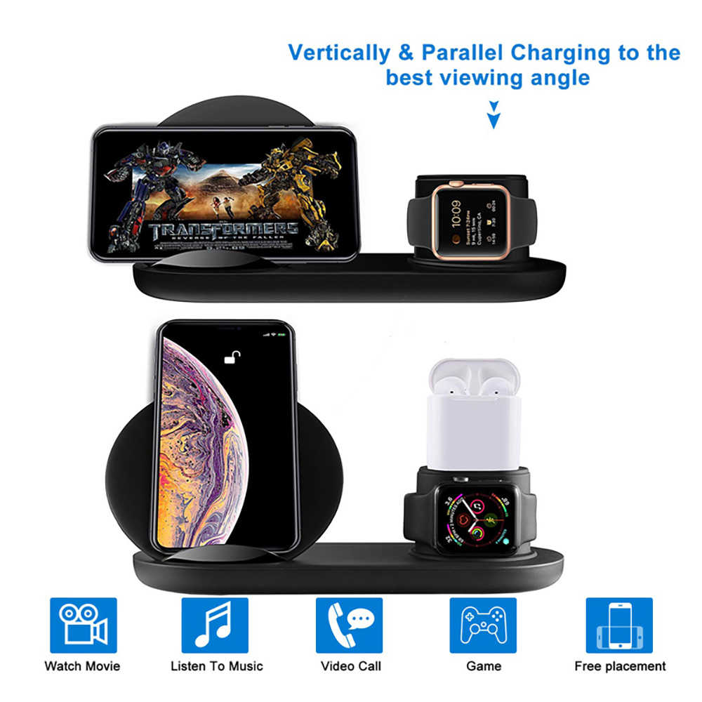 3 in 1 Wireless Charger Stand for iPhone X 8 XS Max Fast Charger Dock Station for apple Watch 4 3 2 1 Airpods for Samsung S10 S9