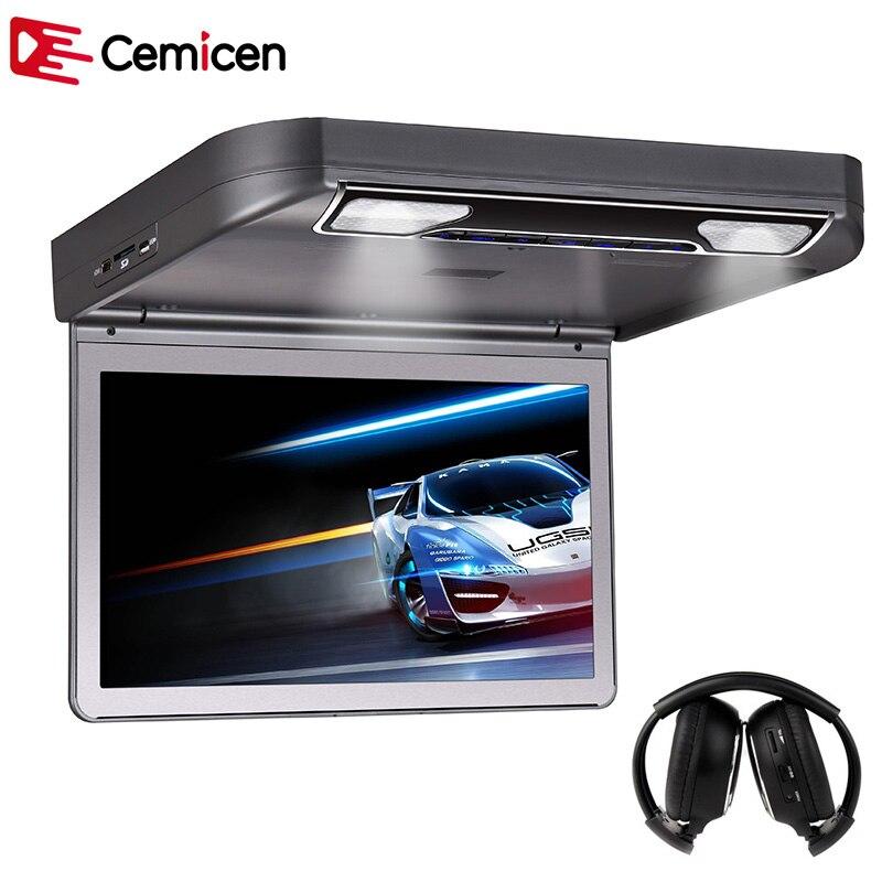 Cemicen мультимедийный монитор 13,3 дюйма, HD 1080P, видео, TFT, широкий экран, автомобильный, откидной, на крышу, DVD, USD/SD, ИК/FM, динамик HDMI MP5