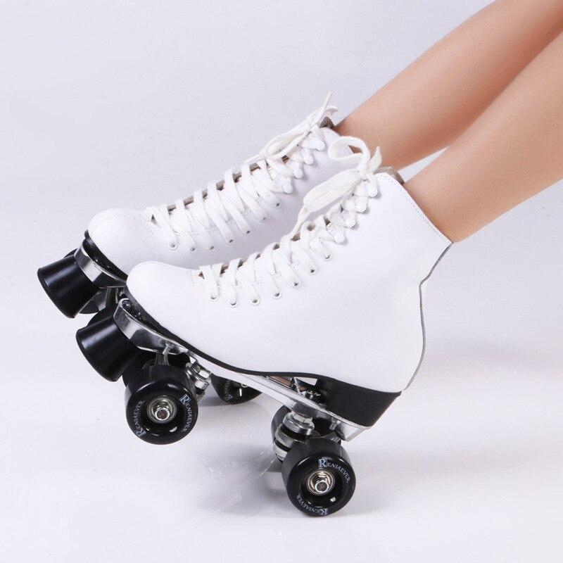 Prix pour Double Patins à roulettes En Cuir Véritable Avec PU Roues En Métal Base deux Côté De Patins À Roulettes Patins Dame Patins Patins Adulte Skate chaussures