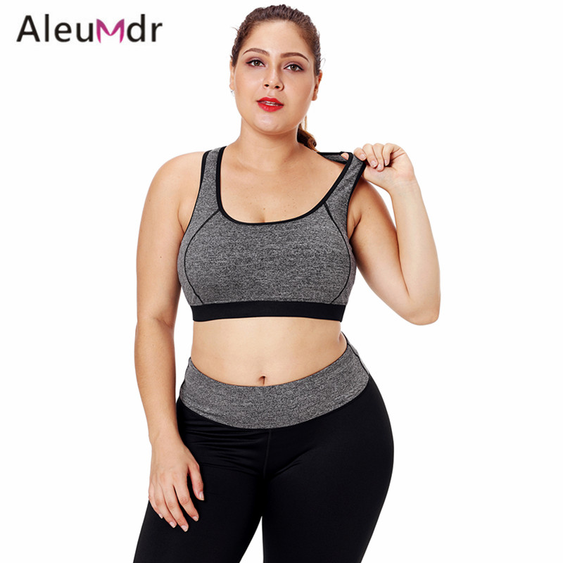 Aleumdr Fitness Women Sport Bra Top Plus Size Gray Piping Trim Racerback Workout Bra For Running LC26042 Top Deportivo Mujer