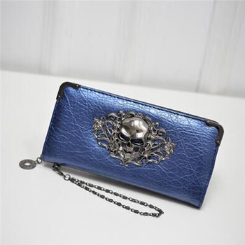 Women's Lace Skull Wallet Bags and Wallets Best Seller Hot Promotions Women's Wallets Color: Blue