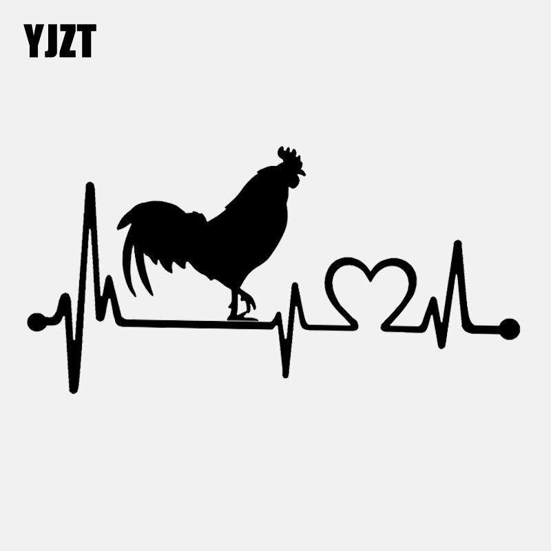 YJZT 16.4CM*8.3CM Farm Rooster Chicken Poultry Vintage  Heartbeat Line Vinyl Black/Silver Car Sticker C22-1163