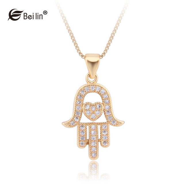 Women heart hamsa hand pendant necklace religious vintage cubic women heart hamsa hand pendant necklace religious vintage cubic zirconia collar necklace fatima hand jewelry aloadofball Images