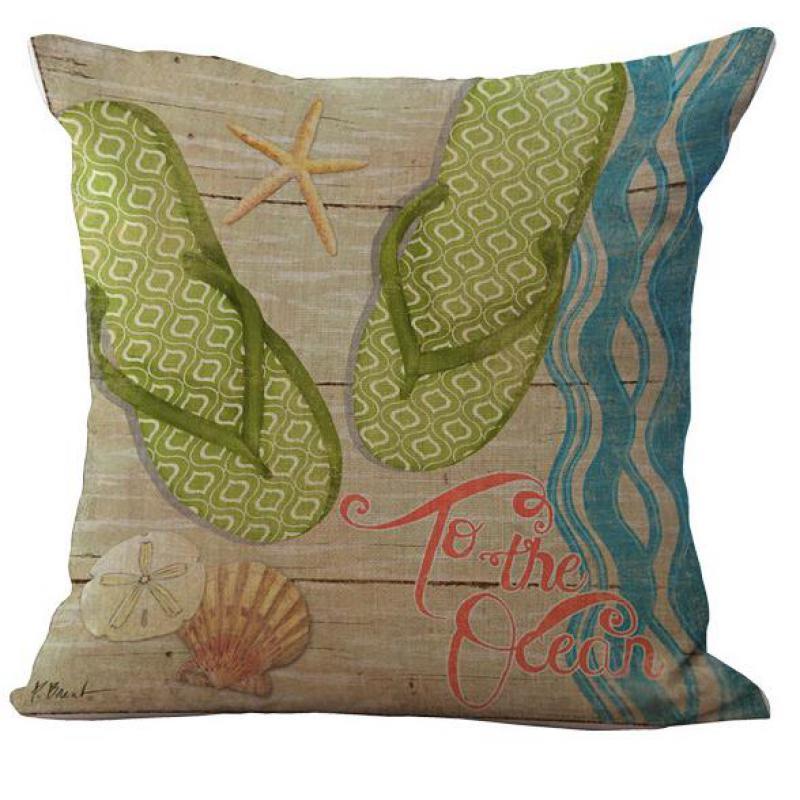 Factory Supply Mediterranean Series Beach Resort Lobster Crab Linen Throw Pillow Case Cushion Cover Square 45*45 Cm