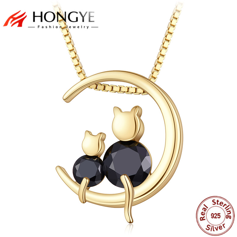 Hongye cute mom son gold cat moon necklaces 925 sterling silver cat hongye cute mom son gold cat moon necklaces 925 sterling silver cat pendant choker for women statement jewelry 2018 new arrival in pendant necklaces from aloadofball Gallery