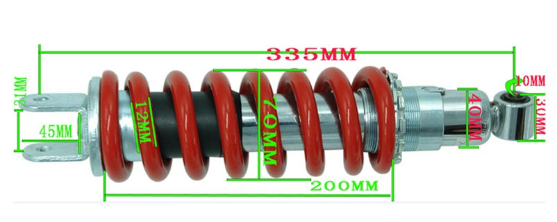 YOSS 335mm spring 12MM motorcycle shock absorption Central shock absorber motorcycle after the shock absorption adjustable damping and nitrogen shock absorber a pair