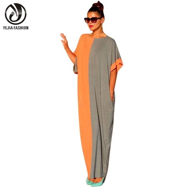 Yejia moda casual vendimia de las mujeres 2017 summer long maxi partido oficina vestidos sexy suelta de manga corta patchwork boho beach dress