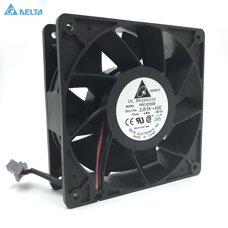 2J51K-A00 Computer Water Cooling Fan Delta PFC1212DE 12038 12V 12CM Strong Breeze Big Air Volume Violent Fan free delivery 4e 115b fan 12038 iron leaf high temperature cooling fan 12cm