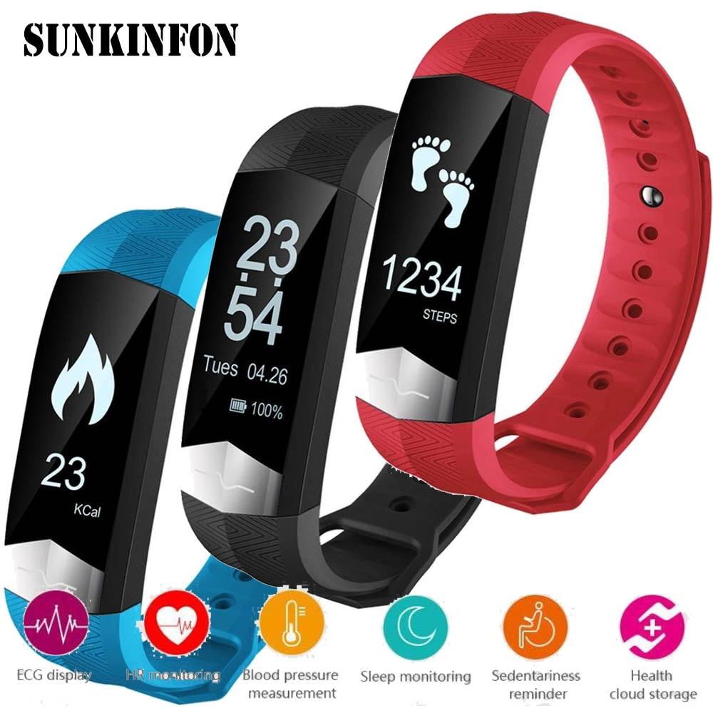 ECG Blood Pressure Monitor Bluetooth Smart Wristband Sport Fitness Smart Band Bracelet for Huawei nova 2 Plus P10 Plus <font><b>P9</b></font> Plus