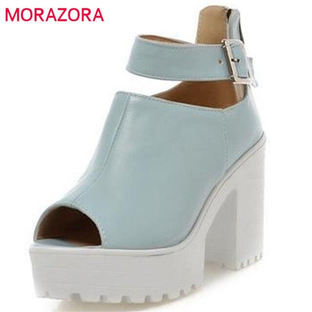 695e5259e64fc MORAZORA peep toe Moda gruby obcas platformy buty damskie sandały sexy biały  różowy niebieski wysokie obcasy