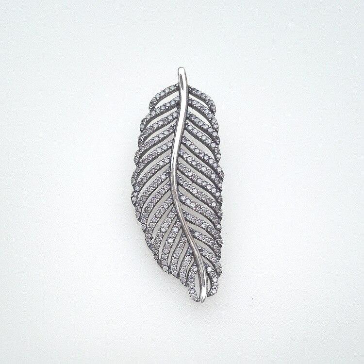 925 bijoux en argent sterling frais blanc zircon cubique feuille pour collier de charme bricolage faisant en gros