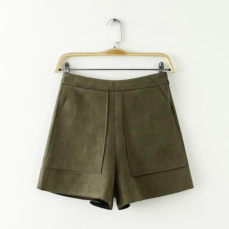 Wildleder Hohe Taille Shorts Frauen England Mode Herbst Winter Gerade Spodenki Damskie Taschen Pantalon Corto Mujer Passenden Stiefel