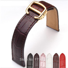 Genuine Leather 16 18 20 mm Watche Band Strap Belt  Watchband Black With Folding Clasp / Buckle For Tank Series все цены