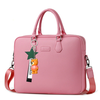 14/15.6 inch Girl Laptop Bag Women Business Briefcase Handbag Waterproof PU Leather Shoulder Bag Computer IPAD Bag Bear pendant