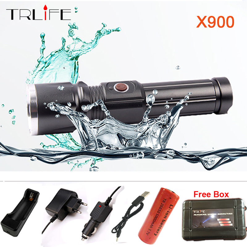 TRLIFE <font><b>X900</b></font> CREE XML T6 L2 <font><b>LED</b></font> Zoom flashlight Torches Zoomable Flashlight <font><b>lanterna</b></font> <font><b>led</b></font> torch With 26650 Battery USB Charge