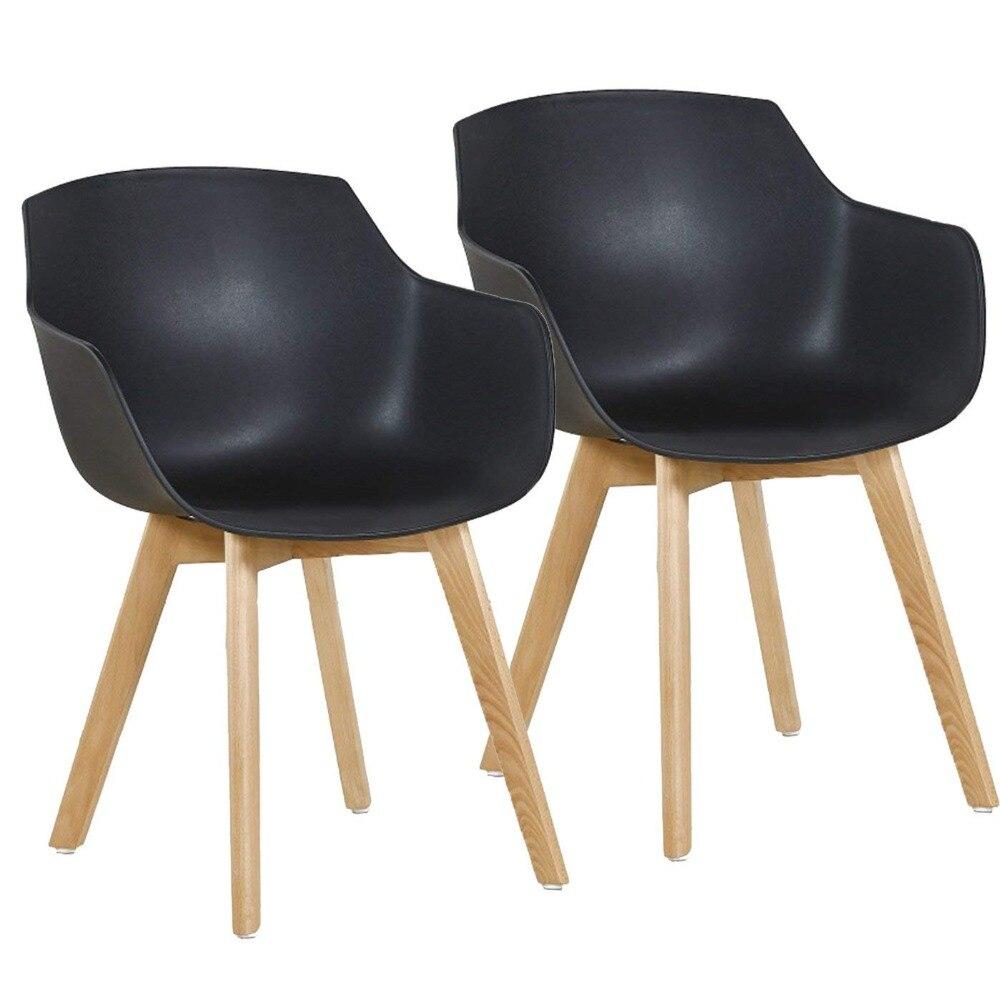 где купить EGGREE Set of 2 Mordern Design Dinging Chair Scandinavian Armchair Plastic Sest and Solid Wooden Legs Black по лучшей цене