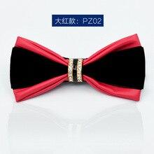 slap-up bow tie men fashion PU diamond bowtie wedding party business gift butterfly for women dinner neckwear red blue