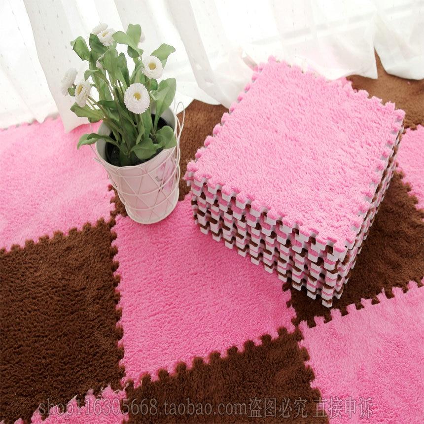 2015 4pcs Mosaic Puzzle Mats Carpet Pile Plush Thick Foam Green Living Room Bedroom Tatami