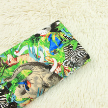 Zoo Animal Pattern Printed Cotton Plain Fabric Pure Skin-friendly Panda Elephant Sewing Patchwork