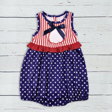 July 4th Toddler Cotton Rompers Newborn Summer Boy Striped Star Embroidery Summer Clothes