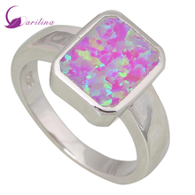 New Hot Popular Women's rings Pink Fire Opal 925 Sterling Silver Overlay jewelry ring size 5.5 6 7 8 9 R438