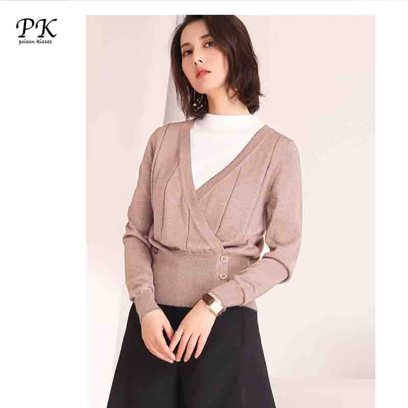 PK V Neck Pull Knitted Sweater Cardigans Long Sleeve Women Slim Casual Sexy Soft Knitting Sweater Femme Spring Autumn PK035