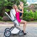Envío de la Nueva llegada de cuatro ruedas carro cochecito de bebé plegable carro buggiest coche de bebé de cuero bebek arabasi